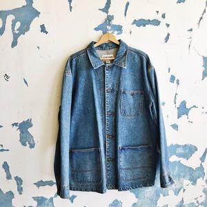 Vintage Blue Zone Denim Button Front Work Jacket